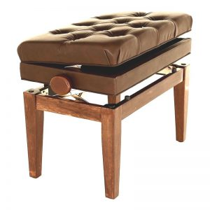 """SYMPHONY"" Adjustable Piano Stool (With Book Storage) - Polished Walnut"