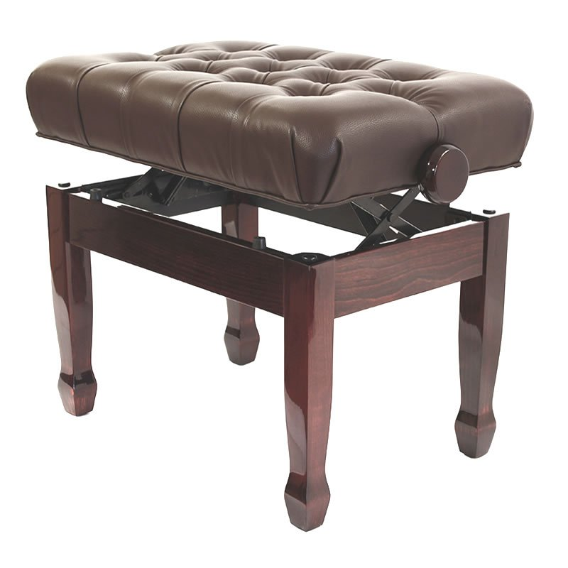 """CADENZA"" Adjustable Piano Stool - Polished Mahogany"