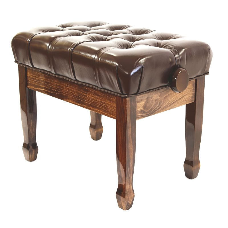 """CADENZA"" REAL LEATHER Adjustable Piano Stool - Polished Walnut"