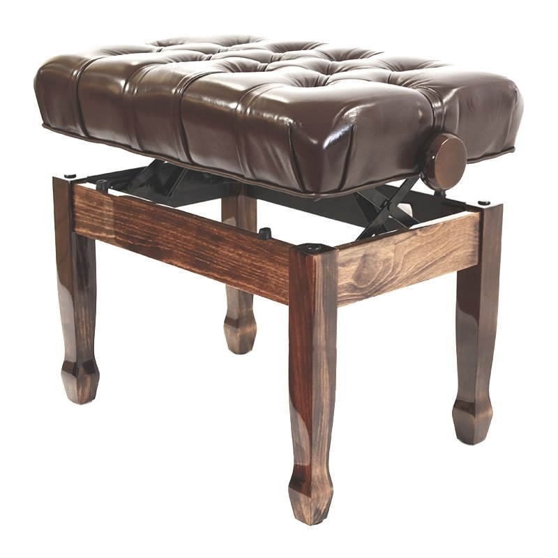 """CADENZA"" REAL LEATHER Adjustable Piano Stool - Polished Walnut"