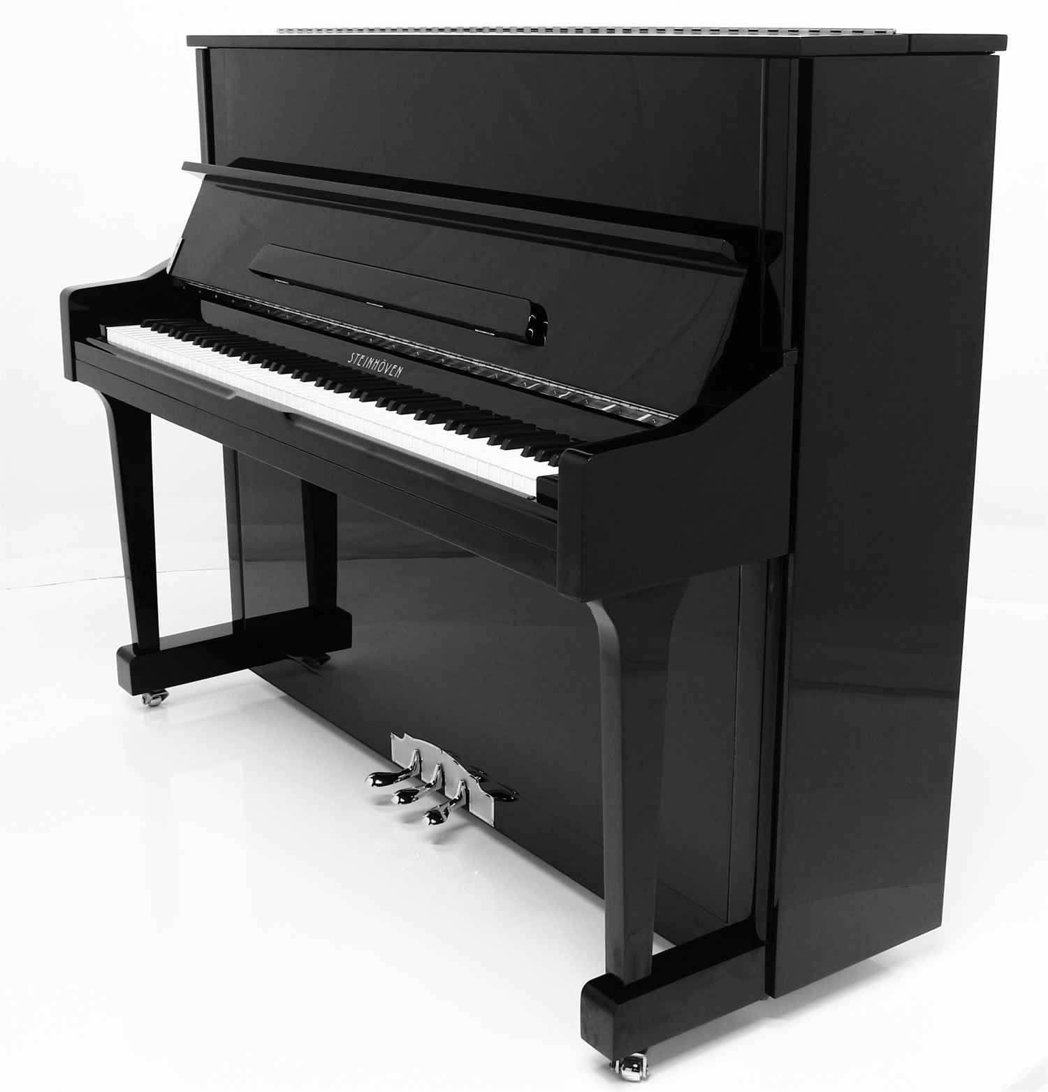 "Steinhoven SU121 Upright Piano, Polished Ebony (121cm, 47.5"") - FREE DELIVERY"